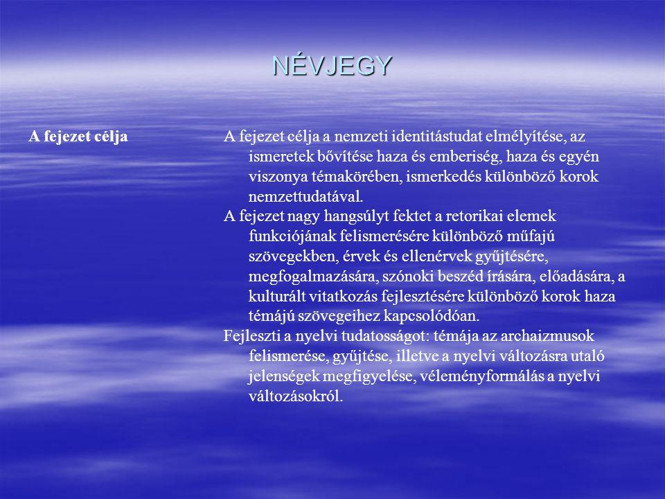 NÉVJEGY A fejezet céljaA fejezet célja a nemzeti identitástudat elmélyítése, az ismeretek bővítése haza és emberiség, haza és egyén viszonya témaköréb
