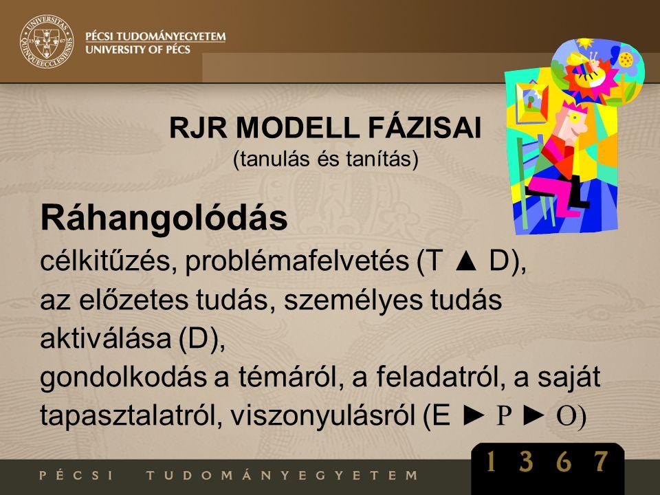 RJR MODELL FÁZISAI (tanulás és tanítás) Ráhangolódás célkitűzés, problémafelvetés (T ▲ D), az előzetes tudás, személyes tudás aktiválása (D), gondolko