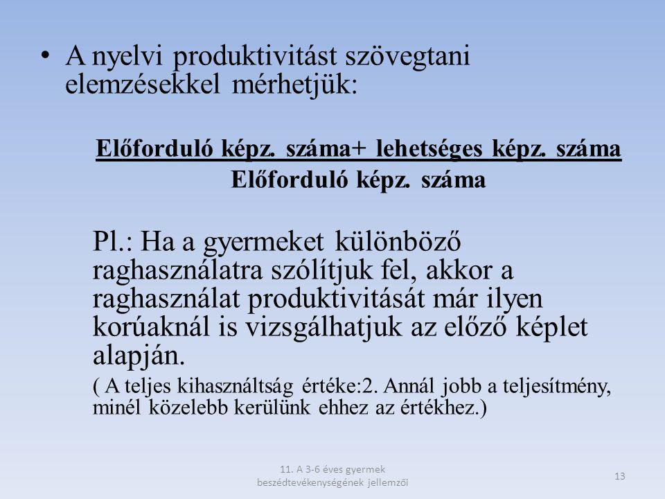 A nyelvi produktivitást szövegtani elemzésekkel mérhetjük: Előforduló képz. száma+ lehetséges képz. száma Előforduló képz. száma Pl.: Ha a gyermeket k