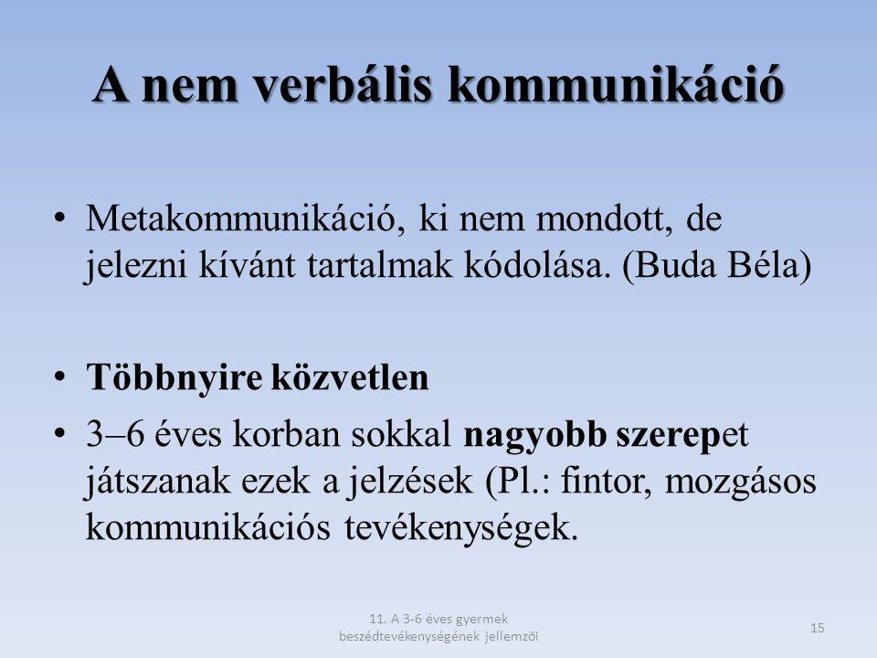 A nem verbális kommunikáció Metakommunikáció, ki nem mondott, de jelezni kívánt tartalmak kódolása. (Buda Béla) Többnyire közvetlen 3–6 éves korban so