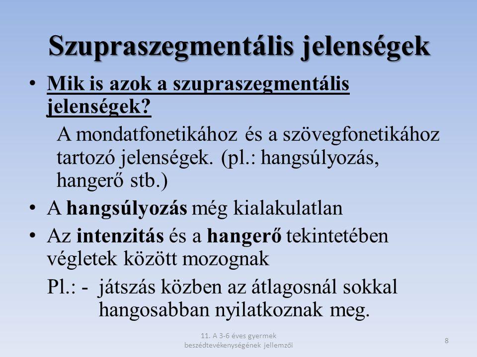 Szupraszegmentális jelenségek Mik is azok a szupraszegmentális jelenségek? A mondatfonetikához és a szövegfonetikához tartozó jelenségek. (pl.: hangsú
