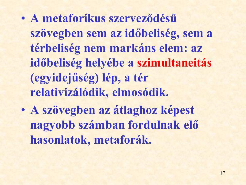 17 A metaforikus szerveződésű szövegben sem az időbeliség, sem a térbeliség nem markáns elem: az időbeliség helyébe a szimultaneitás (egyidejűség) lép