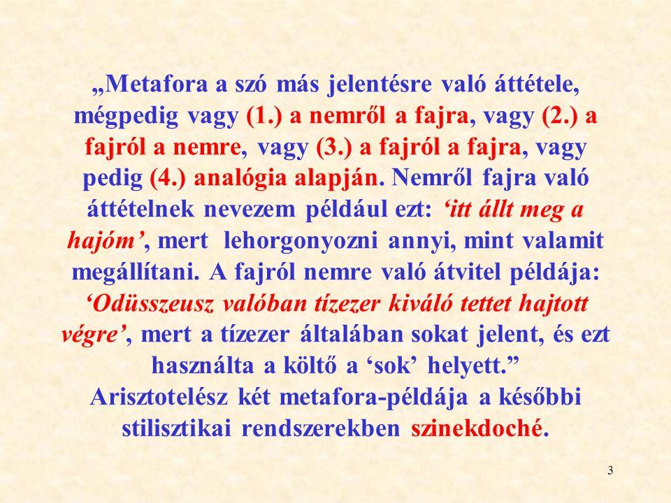 14 A metonímia ÉRINTKEZÉSEN alapuló szókép.