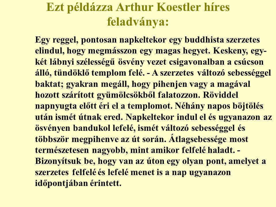 Ezt példázza Arthur Koestler híres feladványa: Egy reggel, pontosan napkeltekor egy buddhista szerzetes elindul, hogy megmásszon egy magas hegyet. Kes