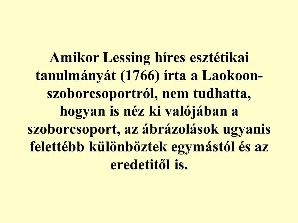 Amikor Lessing híres esztétikai tanulmányát (1766) írta a Laokoon- szoborcsoportról, nem tudhatta, hogyan is néz ki valójában a szoborcsoport, az ábrázolások ugyanis felettébb különböztek egymástól és az eredetitől is.