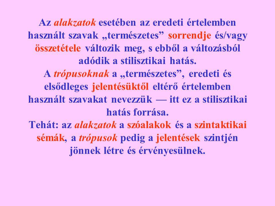 """Az alakzatok esetében az eredeti értelemben használt szavak """"természetes"""" sorrendje és/vagy összetétele változik meg, s ebből a változásból adódik a s"""