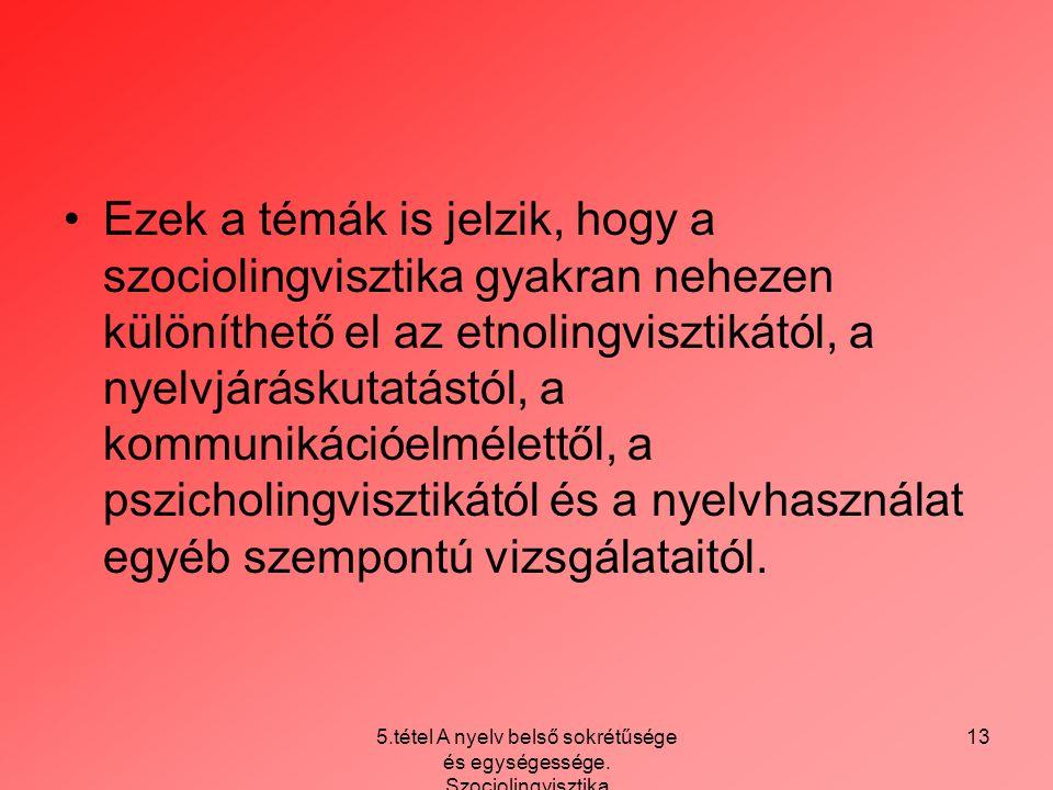 5.tétel A nyelv belső sokrétűsége és egységessége. Szociolingvisztika 13 Ezek a témák is jelzik, hogy a szociolingvisztika gyakran nehezen különíthető