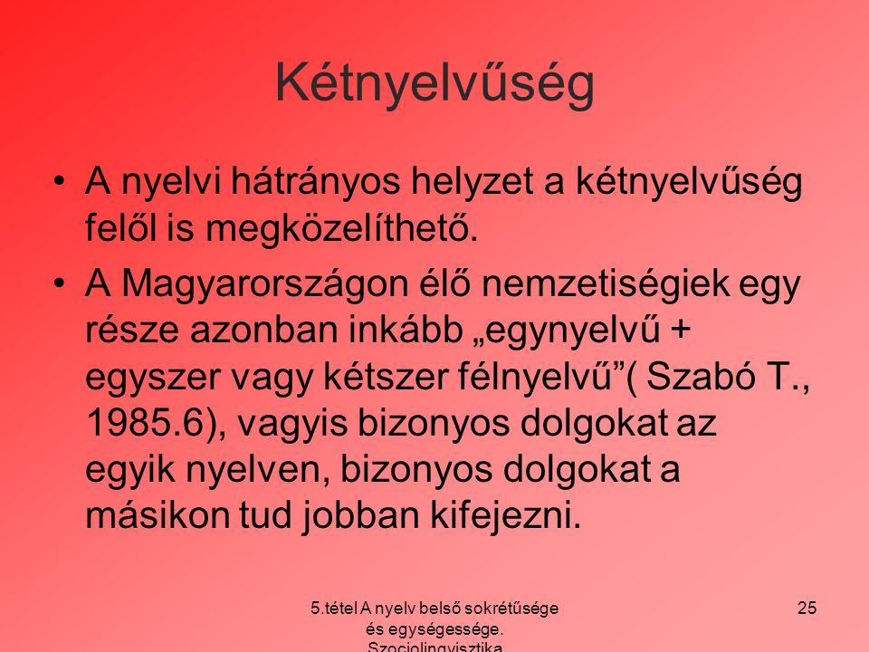 5.tétel A nyelv belső sokrétűsége és egységessége. Szociolingvisztika 25 Kétnyelvűség A nyelvi hátrányos helyzet a kétnyelvűség felől is megközelíthet