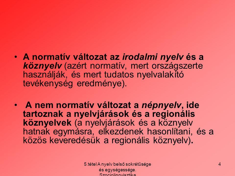 5.tétel A nyelv belső sokrétűsége és egységessége. Szociolingvisztika 4 A normatív változat az irodalmi nyelv és a köznyelv (azért normatív, mert orsz