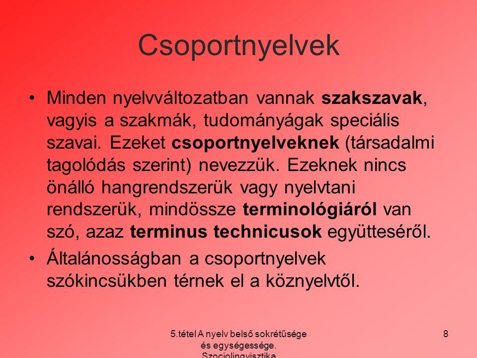 5.tétel A nyelv belső sokrétűsége és egységessége. Szociolingvisztika 8 Csoportnyelvek Minden nyelvváltozatban vannak szakszavak, vagyis a szakmák, tu