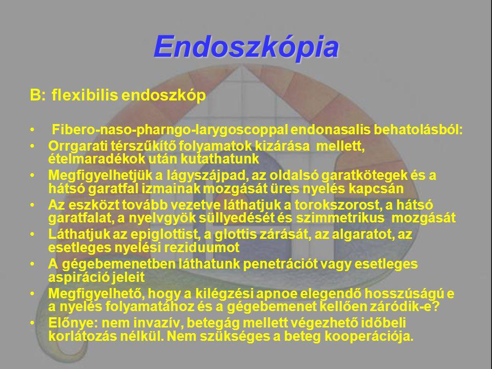 Endoszkópia B: flexibilis endoszkóp Fibero-naso-pharngo-larygoscoppal endonasalis behatolásból: Orrgarati térszűkítő folyamatok kizárása mellett, étel