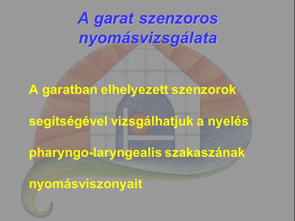 A garat szenzoros nyomásvizsgálata A garatban elhelyezett szenzorok segítségével vizsgálhatjuk a nyelés pharyngo-laryngealis szakaszának nyomásviszony