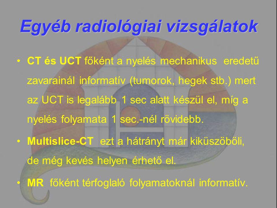 Egyéb radiológiai vizsgálatok CT és UCT főként a nyelés mechanikus eredetű zavarainál informatív (tumorok, hegek stb.) mert az UCT is legalább 1 sec a