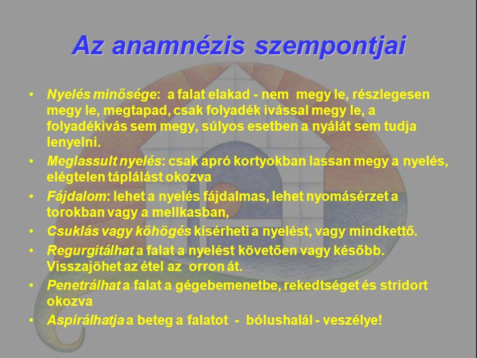 Az anamnézis szempontjai Nyelés minősége: a falat elakad - nem megy le, részlegesen megy le, megtapad, csak folyadék ivással megy le, a folyadékivás s