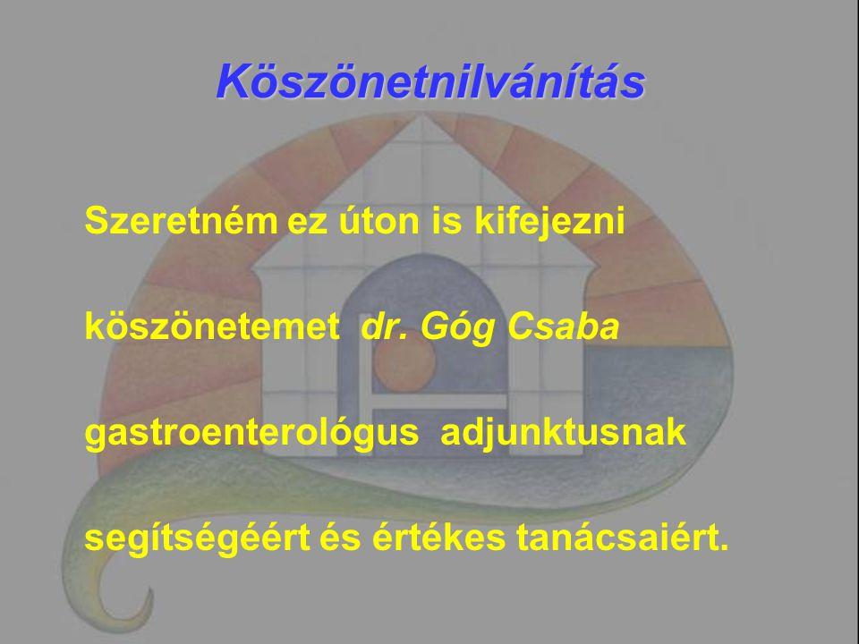 Köszönetnilvánítás Szeretném ez úton is kifejezni köszönetemet dr. Góg Csaba gastroenterológus adjunktusnak segítségéért és értékes tanácsaiért.