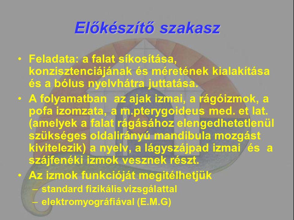 Kontrasztanyagos radiológiai vizsgálat Endoszkópos vizsgálattal nem itélhető meg: –A nyelv mozgása a bólus manipulációjakor –A nyelv kontaktusa a hátsó garatfallal a bólus továbbításakor –A nyelvcsont-gége előre-felfelé mozgása nyeléskor –A cricopharyngealis nyitás –Epiglottis arytaenoid szintű gégezárás –Mendelsohn f.