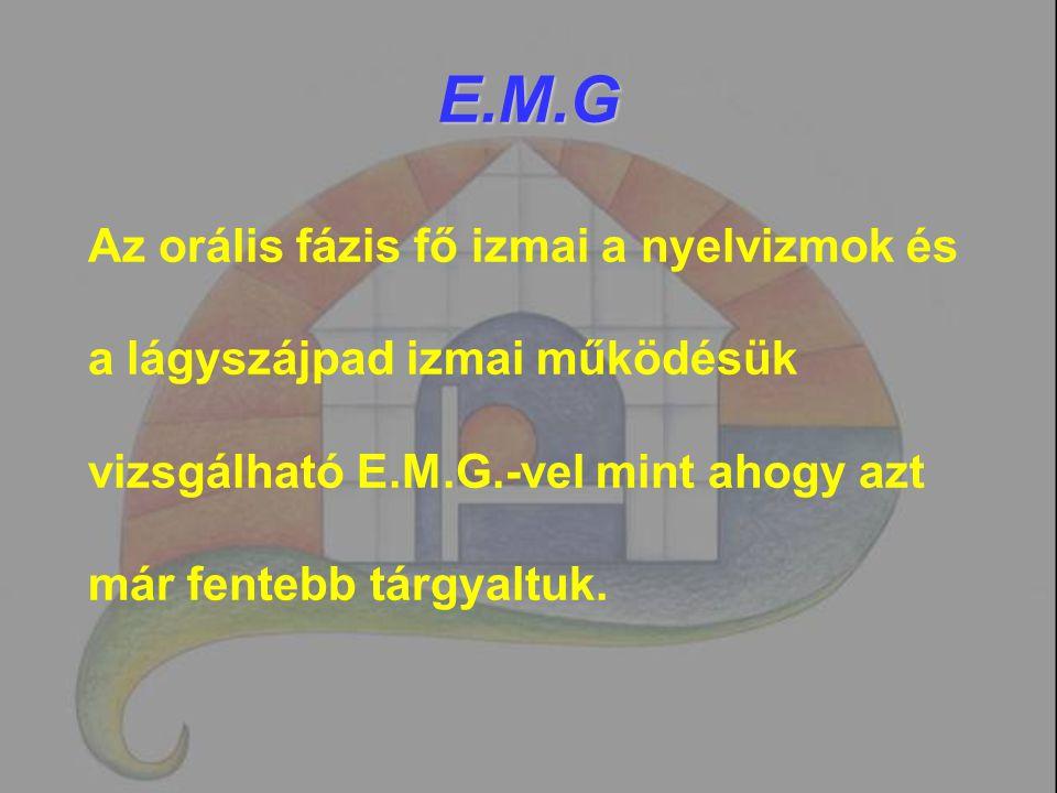 E.M.G Az orális fázis fő izmai a nyelvizmok és a lágyszájpad izmai működésük vizsgálható E.M.G.-vel mint ahogy azt már fentebb tárgyaltuk.