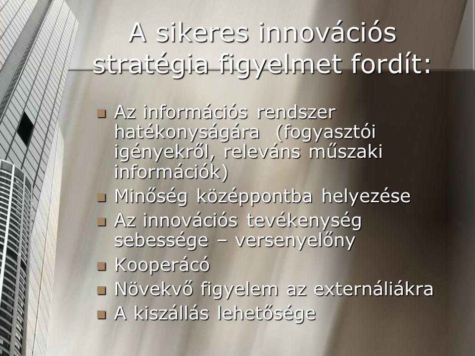 A sikeres innovációs stratégia figyelmet fordít: Az információs rendszer hatékonyságára (fogyasztói igényekről, releváns műszaki információk) Az infor