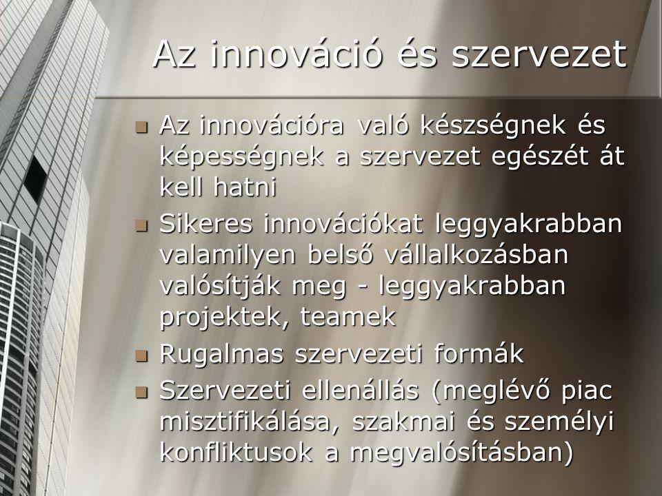 Az innováció és szervezet Az innovációra való készségnek és képességnek a szervezet egészét át kell hatni Az innovációra való készségnek és képességne