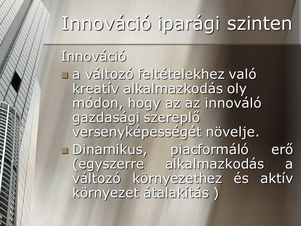 Innováció iparági szinten Innováció a változó feltételekhez való kreatív alkalmazkodás oly módon, hogy az az innováló gazdasági szereplő versenyképess