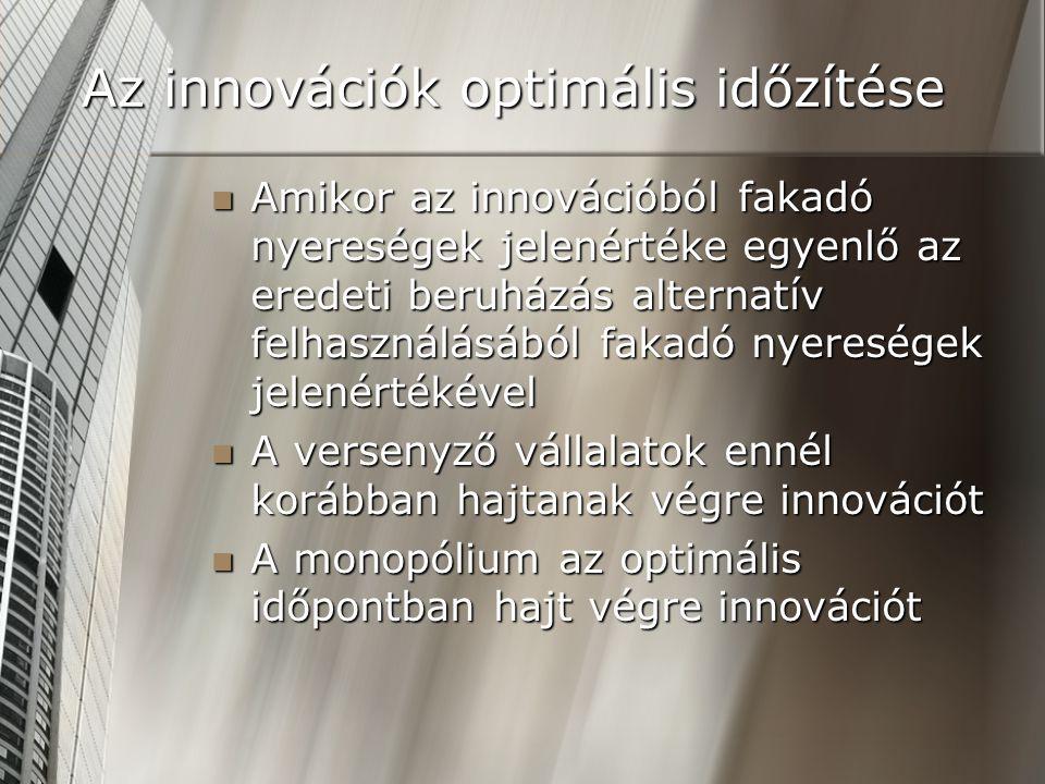 Az innovációk optimális időzítése Amikor az innovációból fakadó nyereségek jelenértéke egyenlő az eredeti beruházás alternatív felhasználásából fakadó