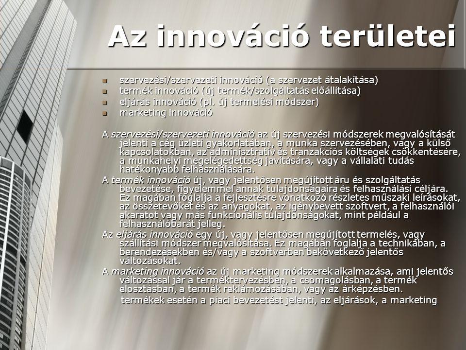 4)Az innovációs lépések kidolgozása A következő feladatok megvalósítását jelenti: Ötletgyűjtés: az ötleteket ösztönző-rendszer kialakítása; a felmerült fejlesztési ötletek összegyűjtése; az ígéretes ötletek kiválasztása Ötletgyűjtés: az ötleteket ösztönző-rendszer kialakítása; a felmerült fejlesztési ötletek összegyűjtése; az ígéretes ötletek kiválasztása Tervezési folyamat: az ígéretes ötletek pontos meghatározása, megfogalmazása; az ötletek nagyvonalakban való kidolgozása; a megvalósítható tervezetek kiválasztása Tervezési folyamat: az ígéretes ötletek pontos meghatározása, megfogalmazása; az ötletek nagyvonalakban való kidolgozása; a megvalósítható tervezetek kiválasztása Fejlesztés: a megvalósítható tervezetek részletes kidolgozása; tesztre alkalmas fejlesztések kiválasztása Fejlesztés: a megvalósítható tervezetek részletes kidolgozása; tesztre alkalmas fejlesztések kiválasztása Tesztelés: a megvalósítható fejlesztések szűkebb körben való kipróbálása; a tesztelés eredményeképpen a megvalósítandó innovációs lépések kiválasztása Tesztelés: a megvalósítható fejlesztések szűkebb körben való kipróbálása; a tesztelés eredményeképpen a megvalósítandó innovációs lépések kiválasztása Megvalósítás: az innovációs eredmények gyakorlati bevezetése Megvalósítás: az innovációs eredmények gyakorlati bevezetése