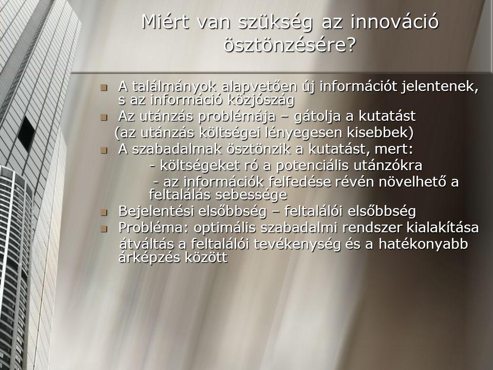 Miért van szükség az innováció ösztönzésére? A találmányok alapvetően új információt jelentenek, s az információ közjószág A találmányok alapvetően új