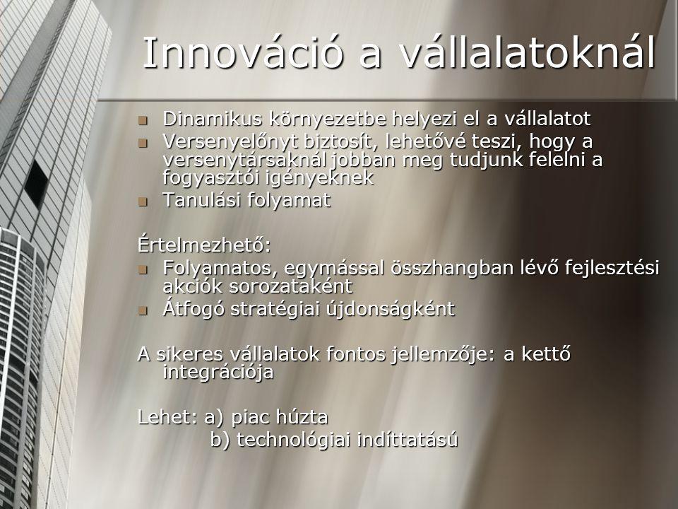 Innováció a vállalatoknál Dinamikus környezetbe helyezi el a vállalatot Dinamikus környezetbe helyezi el a vállalatot Versenyelőnyt biztosít, lehetővé