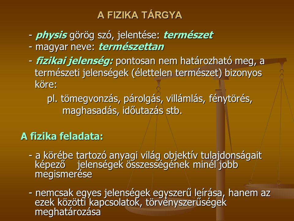 A FIZIKA TÁRGYA - physis görög szó, jelentése: természet - magyar neve: természettan - fizikai jelenség: pontosan nem határozható meg, a természeti je