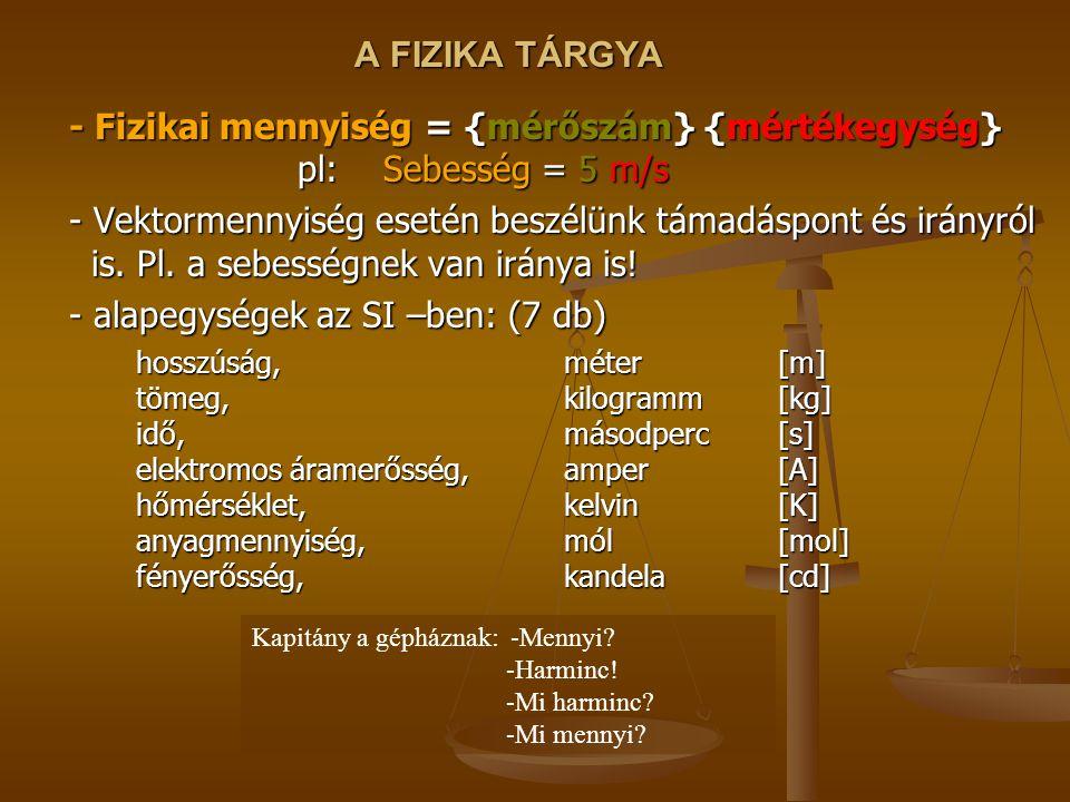 A FIZIKA TÁRGYA - Fizikai mennyiség = {mérőszám} {mértékegység} pl: Sebesség = 5 m/s - Vektormennyiség esetén beszélünk támadáspont és irányról is. Pl