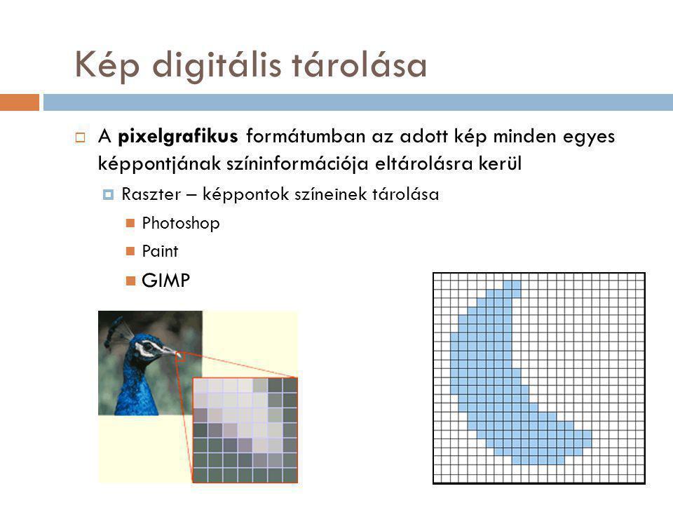 Kép digitális tárolása  A pixelgrafikus formátumban az adott kép minden egyes képpontjának színinformációja eltárolásra kerül  Raszter – képpontok színeinek tárolása Photoshop Paint GIMP