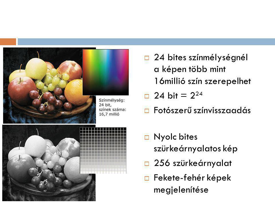  24 bites színmélységnél a képen több mint 16millió szín szerepelhet  24 bit = 2 24  Fotószerű színvisszaadás  Nyolc bites szürkeárnyalatos kép  256 szürkeárnyalat  Fekete-fehér képek megjelenítése