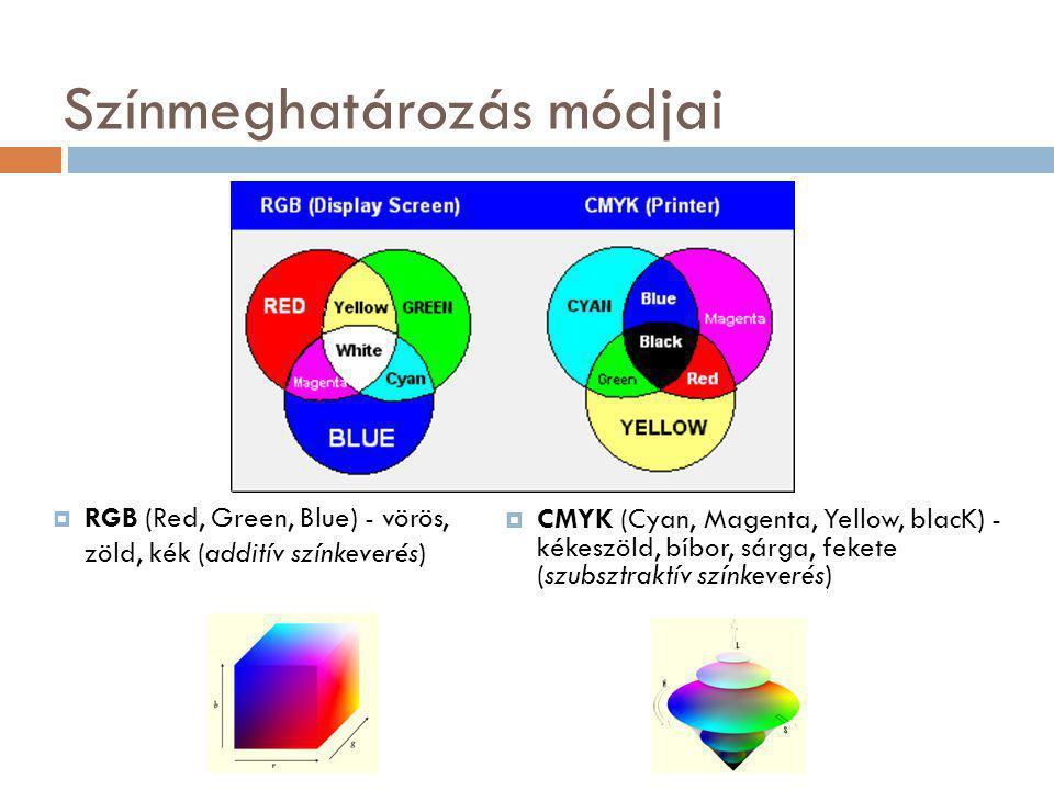 Színmeghatározás módjai  CMYK (Cyan, Magenta, Yellow, blacK) - kékeszöld, bíbor, sárga, fekete (szubsztraktív színkeverés)  RGB (Red, Green, Blue) - vörös, zöld, kék (additív színkeverés)