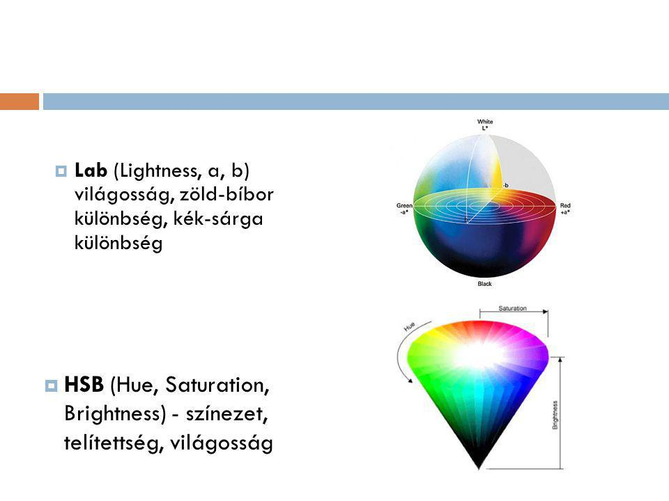  Lab (Lightness, a, b) világosság, zöld-bíbor különbség, kék-sárga különbség  HSB (Hue, Saturation, Brightness) - színezet, telítettség, világosság