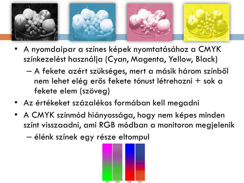 A nyomdaipar a színes képek nyomtatásához a CMYK színkezelést használja (Cyan, Magenta, Yellow, Black) – A fekete azért szükséges, mert a másik három színből nem lehet elég erős fekete tónust létrehozni + sok a fekete elem (szöveg) Az értékeket százalékos formában kell megadni A CMYK színmód hiányossága, hogy nem képes minden színt visszaadni, ami RGB módban a monitoron megjelenik – élénk színek egy része eltompul