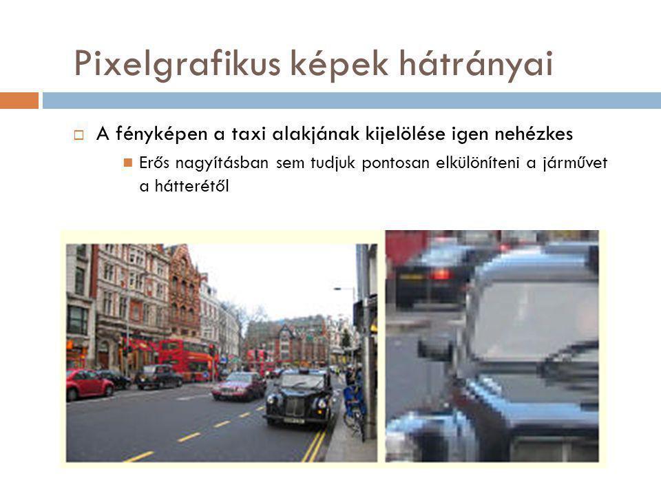 Pixelgrafikus képek hátrányai  A fényképen a taxi alakjának kijelölése igen nehézkes Erős nagyításban sem tudjuk pontosan elkülöníteni a járművet a hátterétől