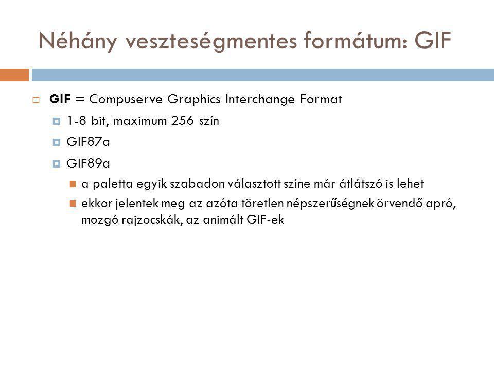 Néhány veszteségmentes formátum: GIF  GIF = Compuserve Graphics Interchange Format  1-8 bit, maximum 256 szín  GIF87a  GIF89a a paletta egyik szabadon választott színe már átlátszó is lehet ekkor jelentek meg az azóta töretlen népszerűségnek örvendő apró, mozgó rajzocskák, az animált GIF-ek