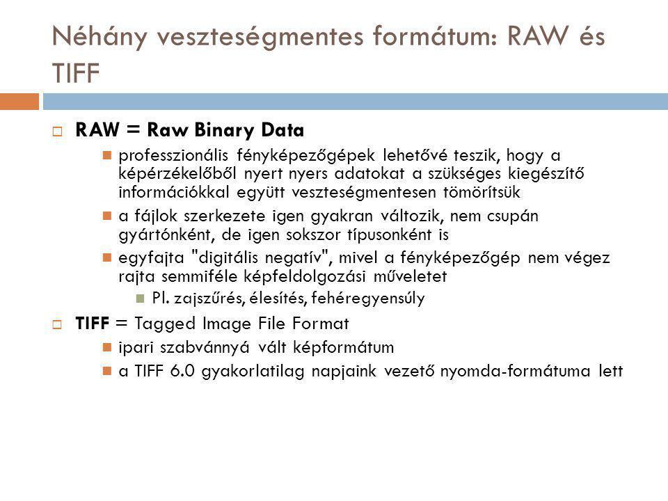 Néhány veszteségmentes formátum: RAW és TIFF  RAW = Raw Binary Data professzionális fényképezőgépek lehetővé teszik, hogy a képérzékelőből nyert nyers adatokat a szükséges kiegészítő információkkal együtt veszteségmentesen tömörítsük a fájlok szerkezete igen gyakran változik, nem csupán gyártónként, de igen sokszor típusonként is egyfajta digitális negatív , mivel a fényképezőgép nem végez rajta semmiféle képfeldolgozási műveletet Pl.