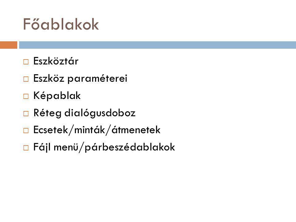Főablakok  Eszköztár  Eszköz paraméterei  Képablak  Réteg dialógusdoboz  Ecsetek/minták/átmenetek  Fájl menü/párbeszédablakok