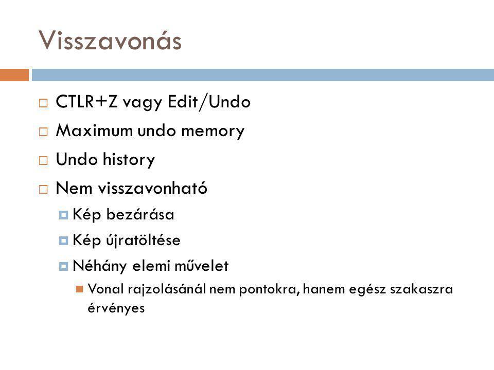 Visszavonás  CTLR+Z vagy Edit/Undo  Maximum undo memory  Undo history  Nem visszavonható  Kép bezárása  Kép újratöltése  Néhány elemi művelet Vonal rajzolásánál nem pontokra, hanem egész szakaszra érvényes