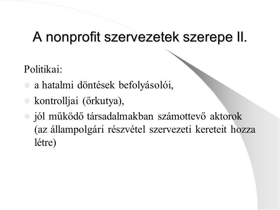 A nonprofit szervezetek szerepe II. Politikai: a hatalmi döntések befolyásolói, kontrolljai (őrkutya), jól működő társadalmakban számottevő aktorok (a