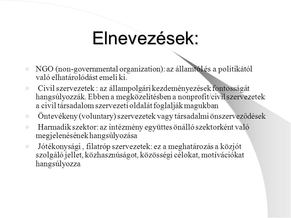 Elnevezések: NGO (non-governmental organization): az államtól és a politikától való elhatárolódást emeli ki. Civil szervezetek : az állampolgári kezde
