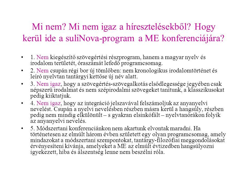 Mi nem? Mi nem igaz a híresztelésekből? Hogy kerül ide a suliNova-program a ME konferenciájára? 1. Nem kiegészítő szövegértési részprogram, hanem a ma