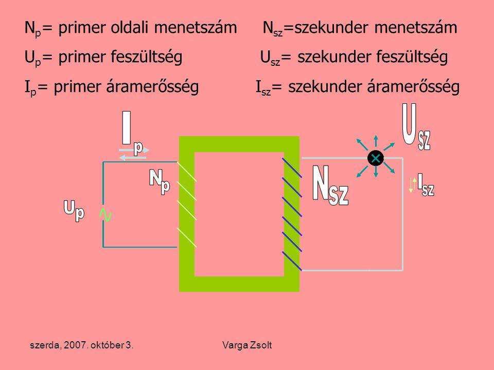 szerda, 2007. október 3.Varga Zsolt N p = primer oldali menetszám N sz =szekunder menetszám U p = primer feszültség U sz = szekunder feszültség I p =
