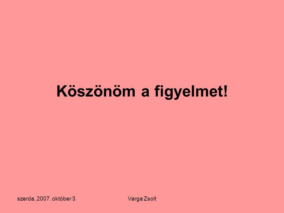 szerda, 2007. október 3.Varga Zsolt Köszönöm a figyelmet!