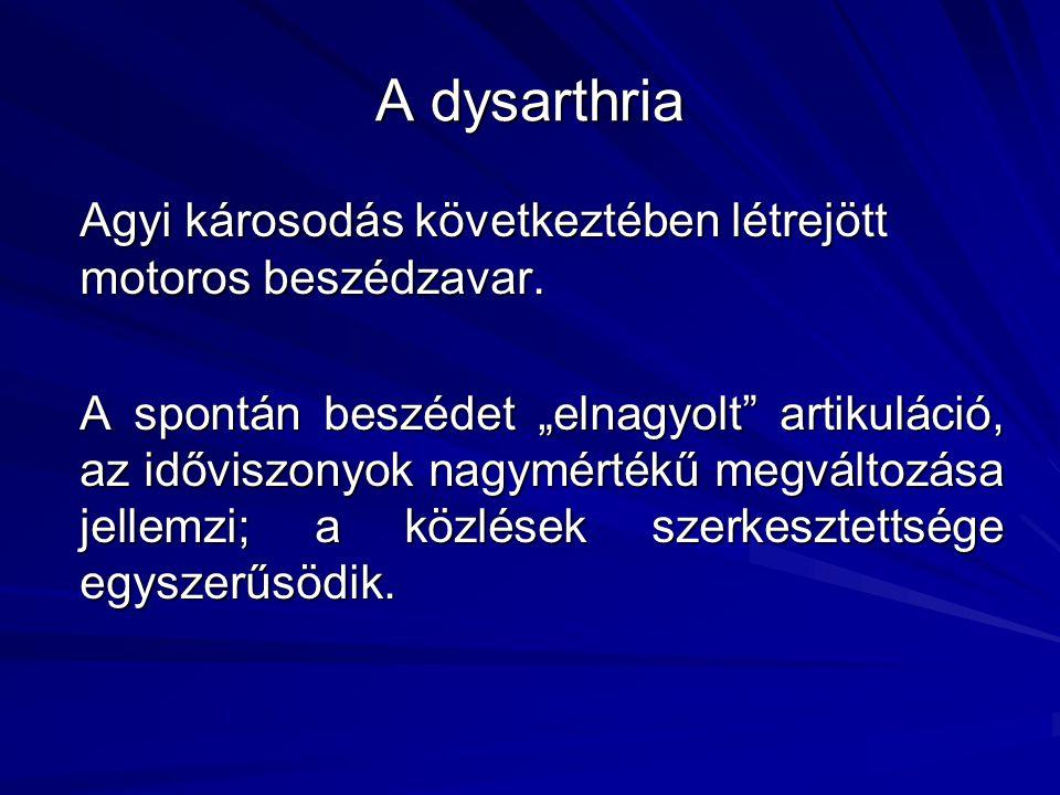 A dysarthria megjelenési formái a spontán beszédben Horváth Viktória ELTE Fonetikai Tanszék
