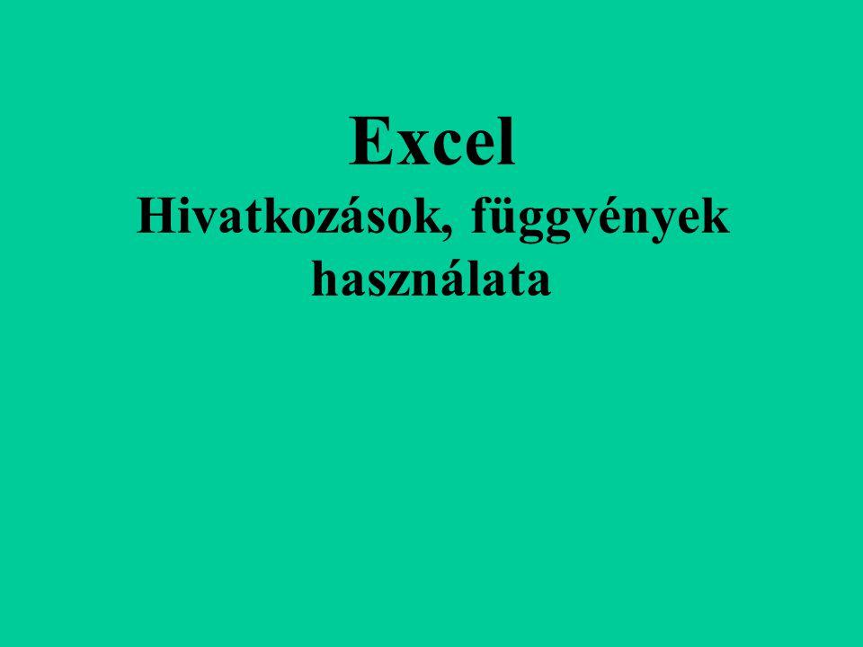Excel Hivatkozások, függvények használata