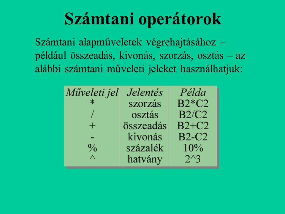 Számtani operátorok Számtani alapműveletek végrehajtásához – például összeadás, kivonás, szorzás, osztás – az alábbi számtani műveleti jeleket használ