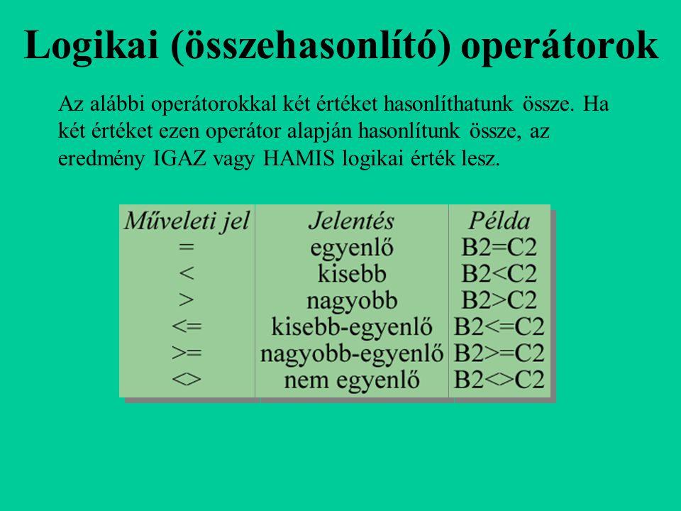 Logikai (összehasonlító) operátorok Az alábbi operátorokkal két értéket hasonlíthatunk össze. Ha két értéket ezen operátor alapján hasonlítunk össze,
