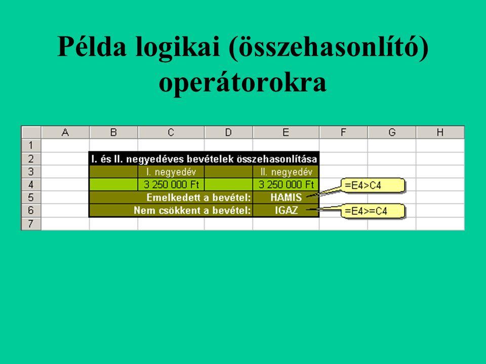 Példa logikai (összehasonlító) operátorokra
